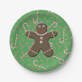 Cute Gingerbread Man Boy Christmas Candy Canes 7 Inch Paper Plate