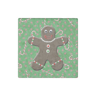Cute Gingerbread Man Boy Christmas Candy Xmas Stone Magnet