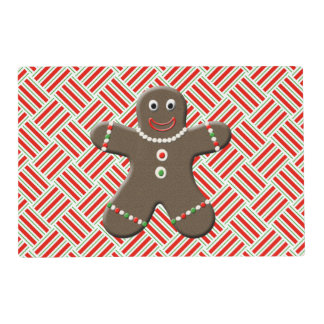 Cute Gingerbread Man Boy Christmas Holiday Red Laminated Place Mat