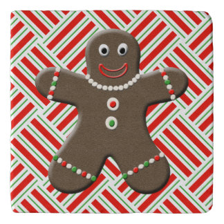 Cute Gingerbread Man Boy Christmas Red White Xmas Trivets