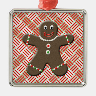 Cute Gingerbread Man Boy Festive Holiday Xmas Silver-Colored Square Decoration