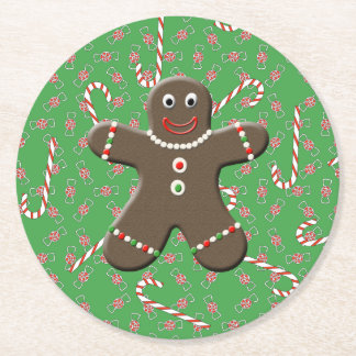 Cute Gingerbread Man Christmas Cookie Candy Round Paper Coaster
