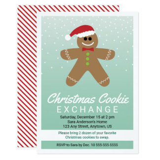 Cute Gingerbread Man Christmas Cookie Exchange 13 Cm X 18 Cm Invitation Card