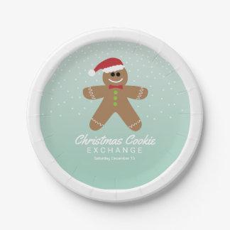 Cute Gingerbread Man Christmas Cookie Exchange 7 Inch Paper Plate