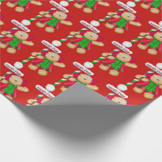 Cute Gingerbread Man, Christmas, Holiday Wrapping Paper