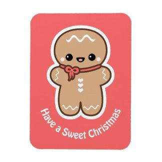 Cute Gingerbread Man Christmas Magnet