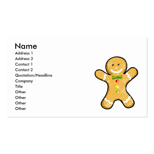 Cute gingerbread man cookie business card templates