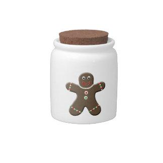 Cute Gingerbread Man Cookie Christmas Candy Jar