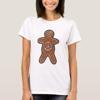 Cute Gingerbread Man Cookie with Peace Symbol T-Shirt
