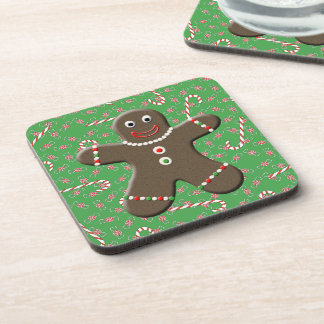 Cute Gingerbread Man Lady Christmas Candy Beverage Coasters