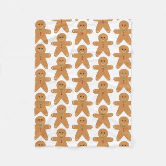 Cute Gingerbread Man Pattern Fleece Blanket