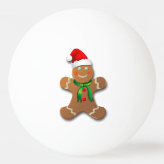 Cute Gingerbread Man With A Red Santa Hat Ping Pong Ball