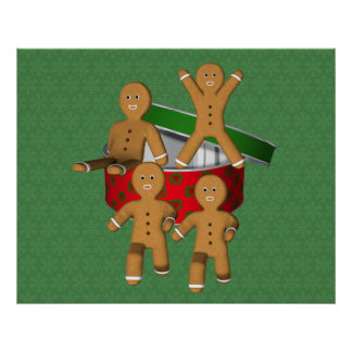 Cute Gingerbread Men Cookies Christmas Holiday Pos Poster