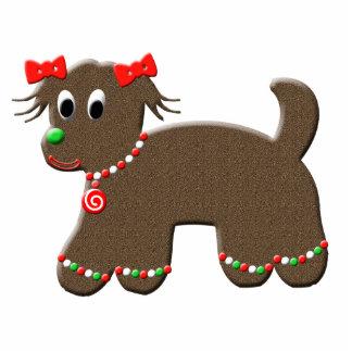 Cute Gingerbread Puppy Dog Christmas Photo Sculpture