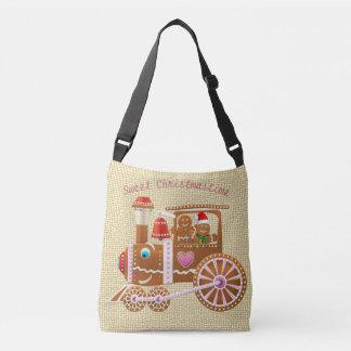 Cute Gingerbread Xmas Train And Airplane Cartoon Crossbody Bag