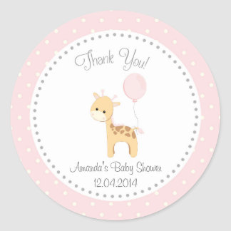 Cute Giraffe Baby Shower Sticker (Pink)