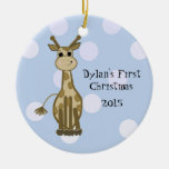 Cute Giraffe Baby's First Christmas Christmas Ornament