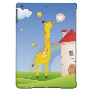 Cute Giraffe Butterflies with Rainbow Castle iPad Air Covers