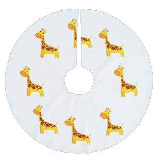 Cute giraffe cartoon brushed polyester tree skirt