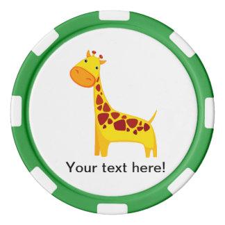 Cute giraffe cartoon poker chips