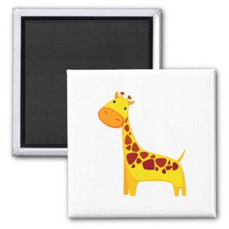 Cute giraffe cartoon square magnet