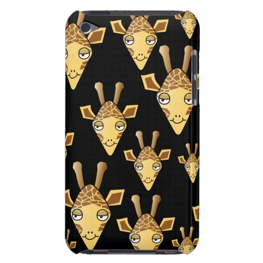 Cute Giraffe Faces, on Black. iPod Touch Cover