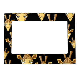 Cute Giraffe Faces, on Black. Magnetic Frame