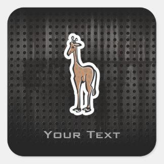 Cute Giraffe; Grunge Square Sticker