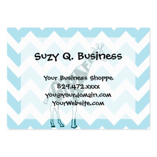 Cute Giraffe Hand Drawn Sketch on Blue Chevron Pack Of Chubby Business Cards