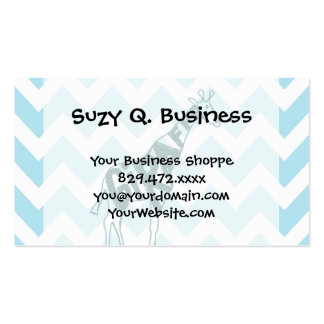 Cute Giraffe Hand Drawn Sketch on Blue Chevron Pack Of Standard Business Cards