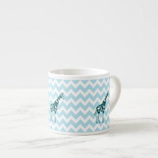 Cute Giraffe Hand Drawn Sketch on Blue Chevron Espresso Mug