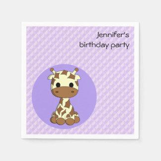 Cute giraffe kawaii cartoon girls name birthday paper napkin