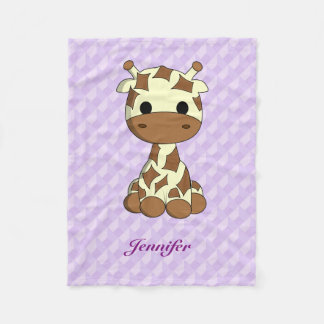 Cute giraffe kawaii cartoon kids name fleece blanket