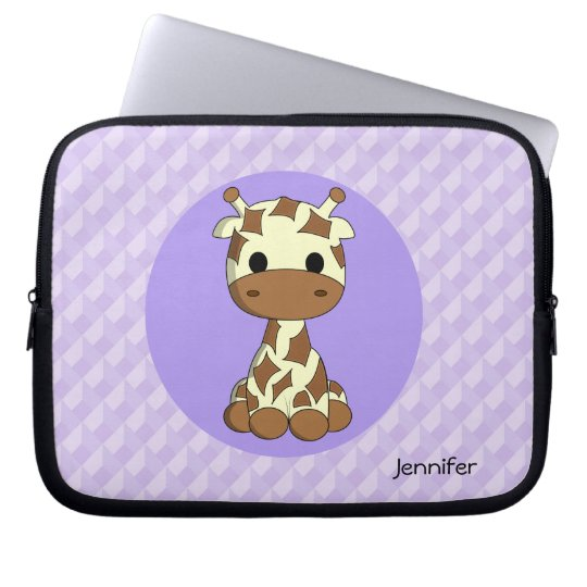 Cute giraffe kawaii cartoon name girls laptop sleeve