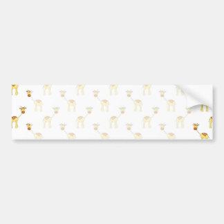 Cute Giraffe Pattern. Car Bumper Sticker