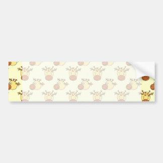Cute Giraffe Pattern. Cartoon Animals. Bumper Sticker