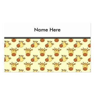 Cute Giraffe Pattern. Cartoon Animals. Business Cards
