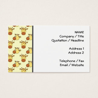 Cute Giraffe Pattern. Cartoon Animals. Business Card