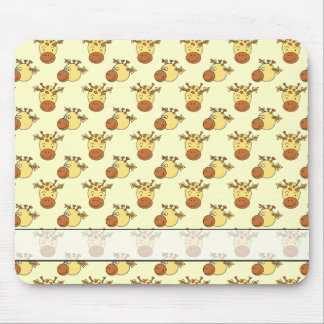 Cute Giraffe Pattern. Cartoon Animals. Mouse Pad