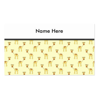 Cute Giraffe Pattern on Yellow. Pack Of Standard Business Cards