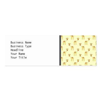 Cute Giraffe Pattern on Yellow Business Card Template