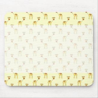 Cute Giraffe Pattern on Yellow. Mousepad