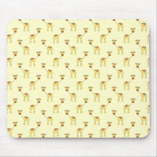 Cute Giraffe Pattern on Yellow. Mouse Pads