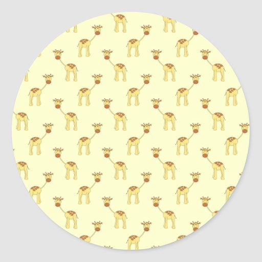 Cute Giraffe Pattern on Yellow. Round Sticker
