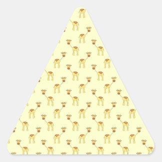 Cute Giraffe Pattern on Yellow. Triangle Sticker