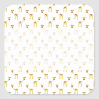 Cute Giraffe Pattern. Square Sticker