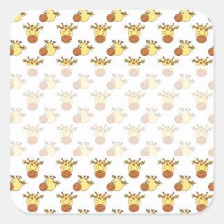 Cute Giraffe Pattern. Square Stickers