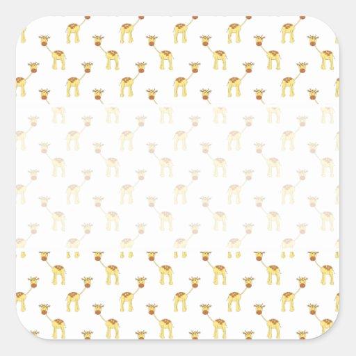 Cute Giraffe Pattern. Square Sticker
