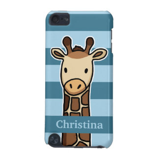 Cute Giraffe, Personalized Name, Blue Stripes iPod Touch (5th Generation) Covers