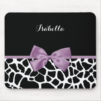 Cute Giraffe Print Lavender Purple Bow With Name Mouse Pad